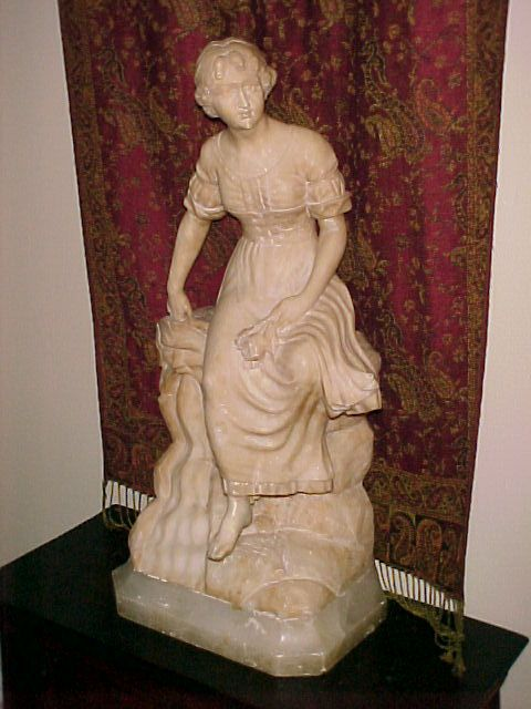 Marble Statue Young Woman  Fountain, Signed G. Mascagni,  C.1890