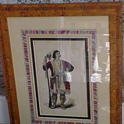 Osceola Seminole Chief Antique Wood Engraving 1857 Framed