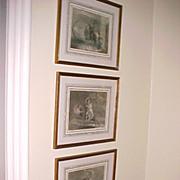 "Set (3) Mezzotint Engravings Burger's ""Leonora"" 1796"