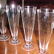 Crystal Pilsener Glasses 12 ounce Vintage  (set 4)
