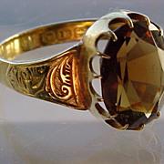 Antique 18K gold citrine ring Birmingham 1912