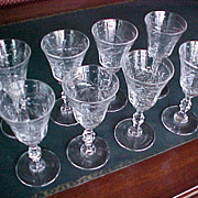 Set (8) cut crystal cordial aperitif glasses 1930-40 starburst design
