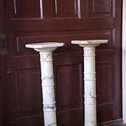 Antique Marble Statuary Pedestal Columns (pair)  19th century
