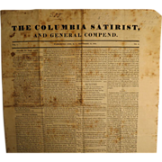 1834 The Columbia Satirist And General Compend. NewsPaper
