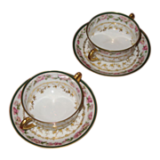 Haviland  Limoges  Nathan Dohrmann Co. broth cups and saucers.