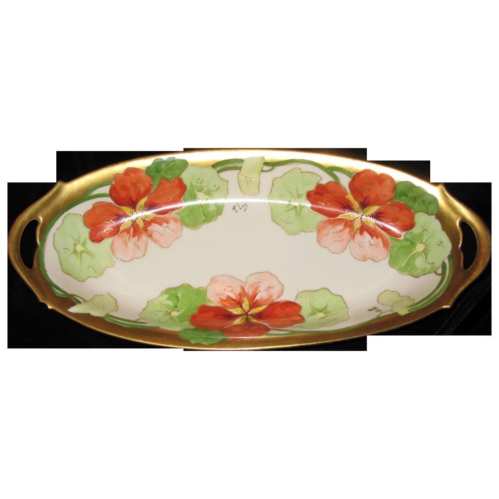 A.Lanternier & Cie Limoges bowl  Oblong shapedwith handles ,signed  T. Luc.