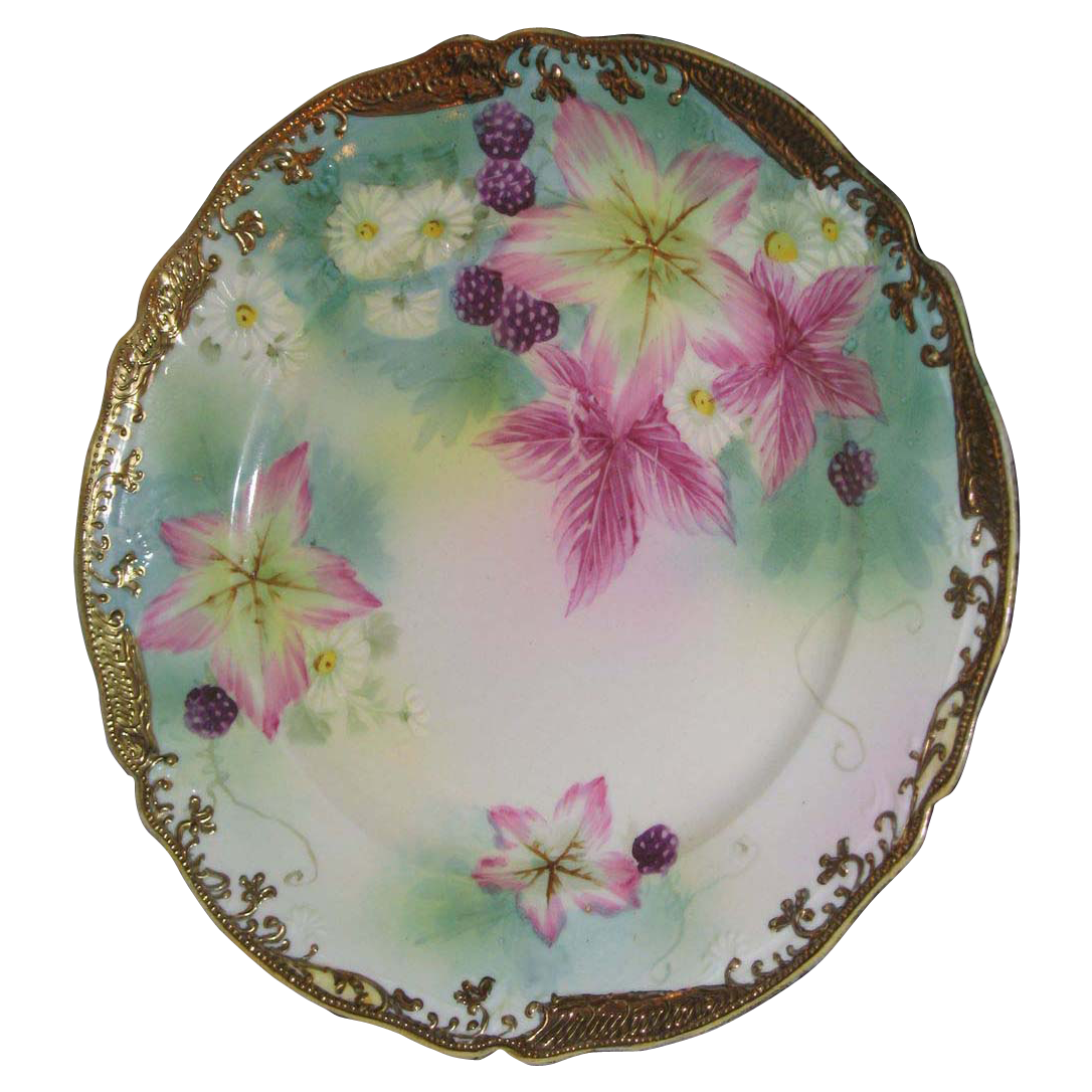 Hand painted plate  Purple Clematis with berries