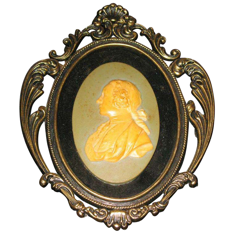 Arabesque porcelain head  with decorative frame