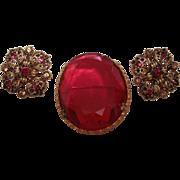 Beautiful Costume Ruby Like Brooch with earrings Set