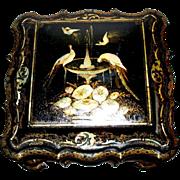 "Large Antique English Papier Mache & Mother-of -Pearl  Box Rococo Design 'Birds & Water Fountain""  circa 1850s"