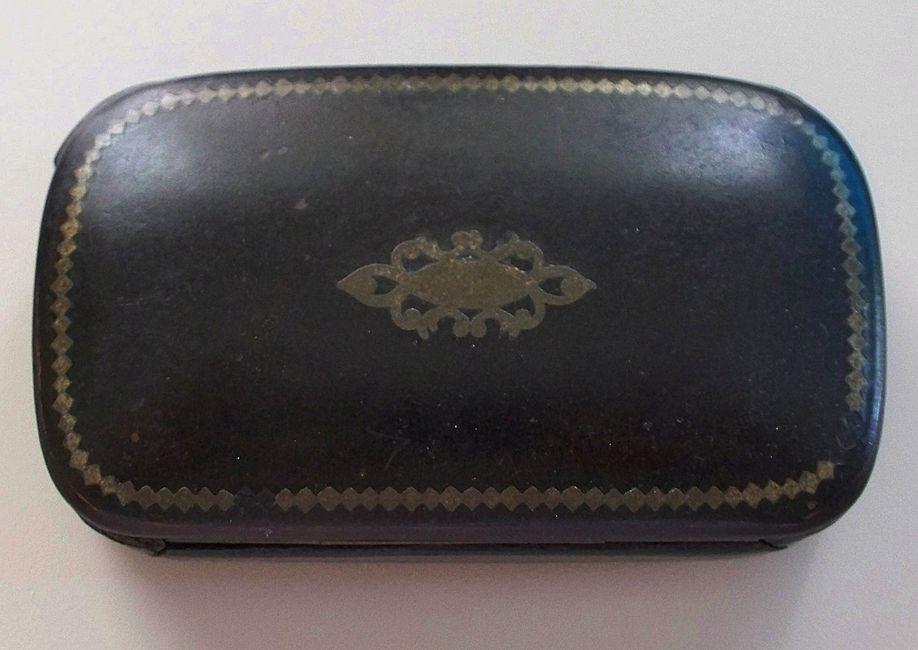Antique Papier Mache Oblong Box  circa 1850