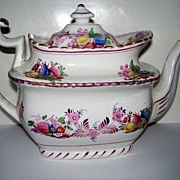 Antique  Staffordshire  Luster  Colorful  Tea Pot   circa 1840