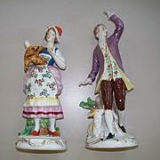2 Dresden Sitzendorf  Porcelain  Figurines of a Girl & a Gent    circa 1920