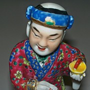 "Antique Chinese Figurine of a Princely Man with a Hat  9"" tall  c.1880"