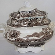 Antique Staffordshire Sugar Bowl  with Farmer & Horses!  ca. 1840