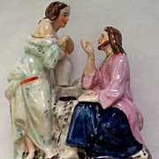 Antique Staffordshire Jesus & The Samaritan Woman   c.1820