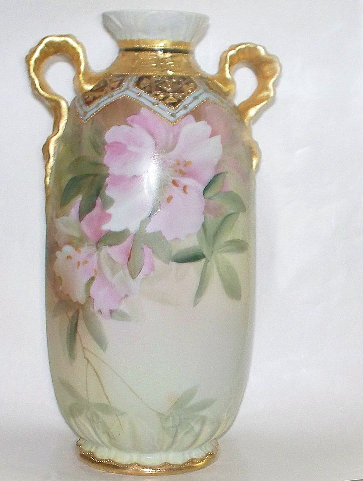 "Antique Nippon ""Green Wreath"" Azaleas & Calla Lilies Vase  c, 1900"