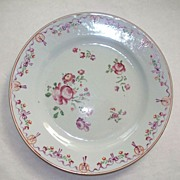 Antique Chinese Rose Famille Plate of  Roses  18th Century