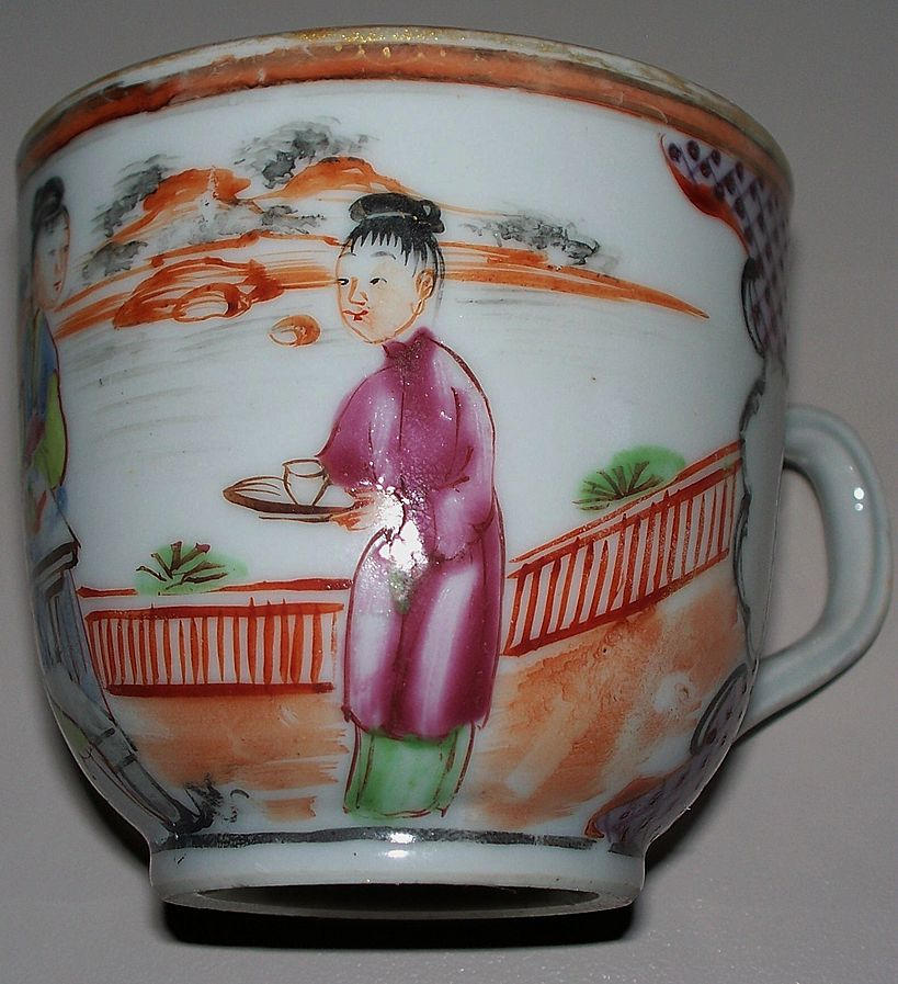 Chinese Rose Famille Cup of 3 Maidens  Tea -Time   ca.1800