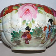 Kutani Melon -shaped Tea Pot with Beautiful Roses & Moriage  & Geishas
