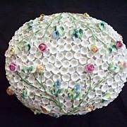 Meissen -Style, Dresden, German Schneeballen Snowball Large Dresser Box/Casket with Roses C.1900 Perfect