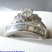 Lady's Engagement Ring & Wedding Band  Diamonds & Platinum  Settings
