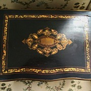 Serpentine French Napoleon Boulle Black Lacquer MOP  Tantalus Acid-etched Circa 1860