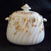 "Minton  ""Gold Ancestral"" Fluted, Spiral Sugar Bowl  Perfect    never used"