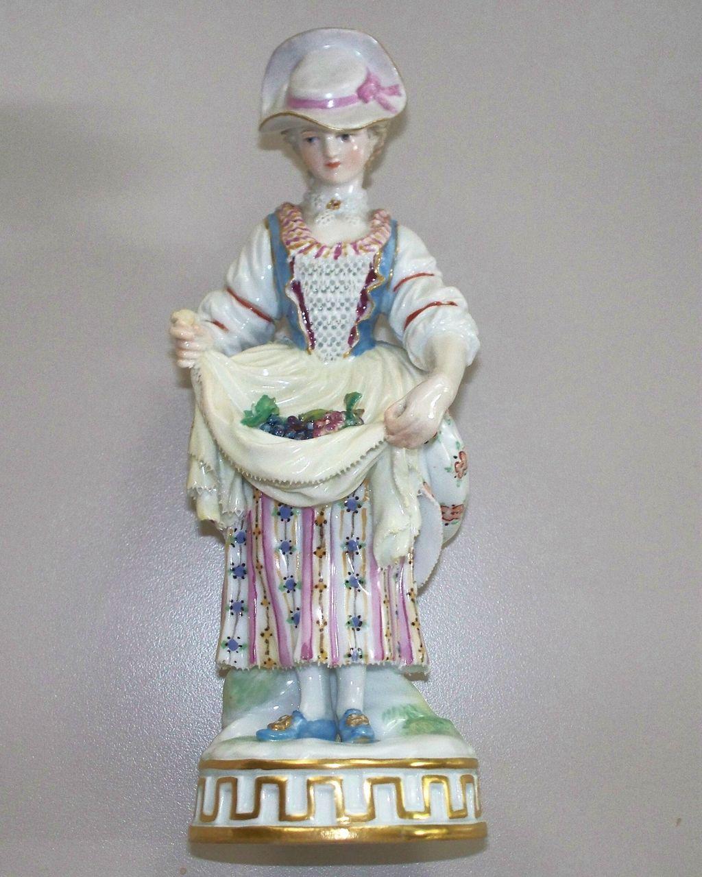 Antique Meissen  Girl  Gathering  Grapes  19th century