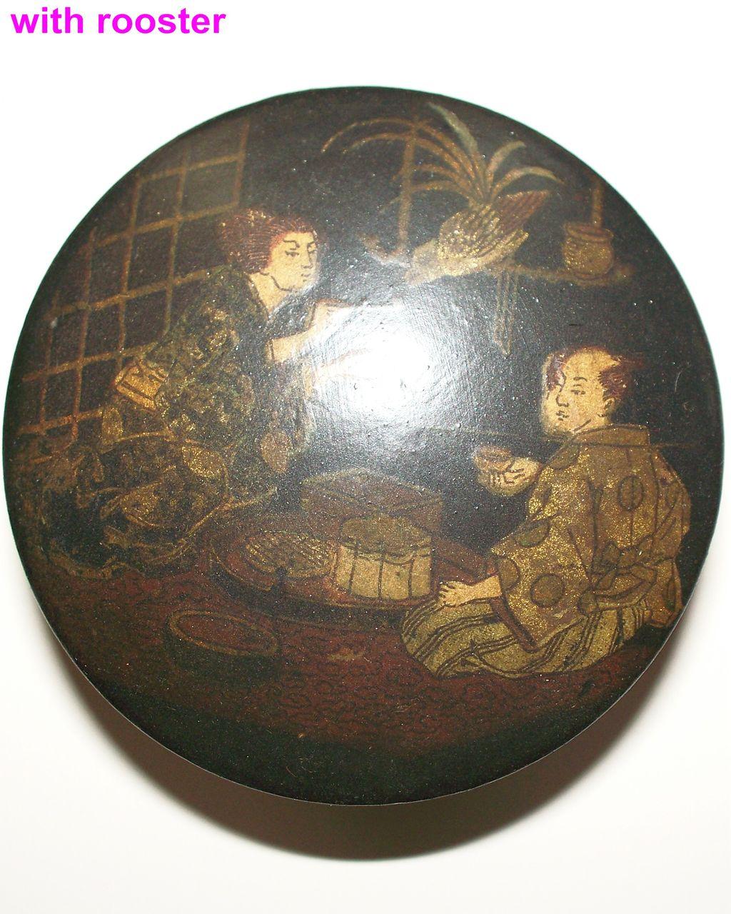 Japanese Papier Mache Box Husband, Wife & Child  ca 1870