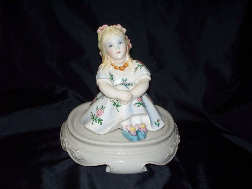 Lenci Figurine of a Little Girl with Roses..  Lovely!