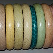 Set of Vintage Genuine Snakeskin Bracelets  ca.1970s