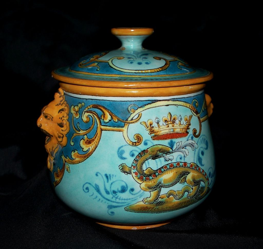 Magnificent French Faience Ulysse Blois Emile Balon Covered Bowl  ca.1890