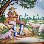 """Antique French Faience """"Nevers"""" """"Quimper"""" Desvres Plate Shepherd with Dog.."""