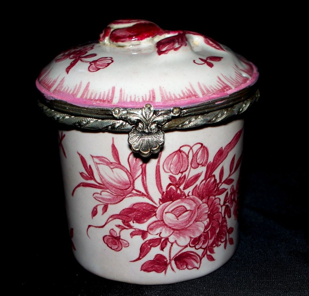 Antique French Faience Veuve Perrin Box  Pewter Mounts  Roses 18th Century