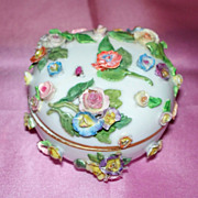Antique Meissen Dresser Jar/Box with Roses