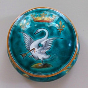"Antique French Faience  Ulysse Blois E. Balon Covered Dresser Jar 3"" h."