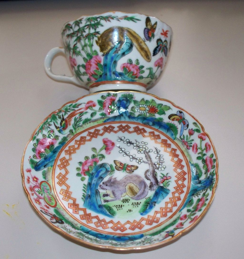 Chinese Famille Rose Cup &  Saucer  Squirrels & Butterflies  circa 1900