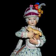 Antique Meissen Child with Toy & Pudding Hat