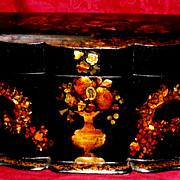 Antique Papier Mache Tea Caddy   1850 perfect