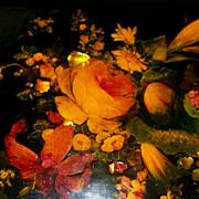 "Antique Papier Mache Box  ""Elizabeth Post Estate"" M.O.P.  circa 1860 florals/ rose.."