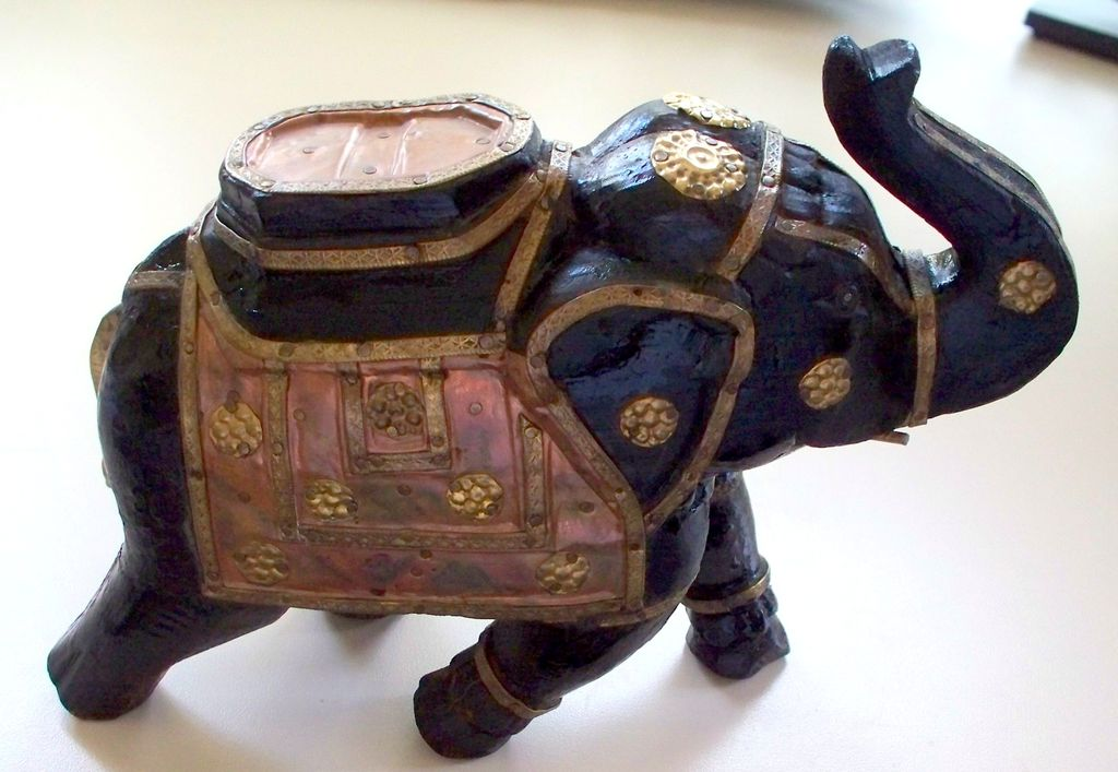 """Vintage Brass & Copper & Wood Elephant with Raised Trunk  9"""" high"""