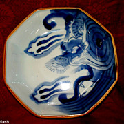 Antique Japanese Octagon Dragon Bowl  with Girl's face