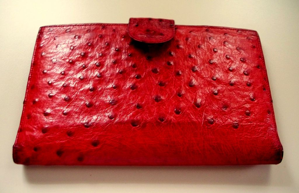 Vintage Genuine Ostrich Exotic Large Wallet    ca. 1960s