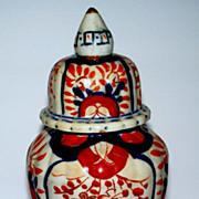 Antique Japanese Imari Ribbed Fluted  Lidded Jar  ca.1890
