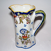 """Antique French Faience   """"Dinan""""   Fluted Pitcher"""