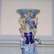 "French Barbotine Figural Vase   22"" High"