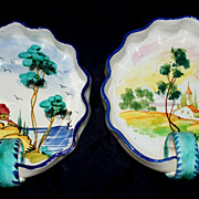 Large Vintage Italian Faience  Bowls with Handles  signed  &  perfect