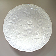 Antique Meissen Blanc De Chine Molded Flowers Charger