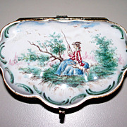 """Antique French Faience Rococo Veuve Perrin """"Girl Fishing w Dog"""" Box  18th century"""